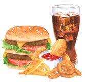 快餐集合,汉堡包,烤干酪辣味玉米片,洋葱圈,法国fies,可乐,鸡块 免版税库存图片