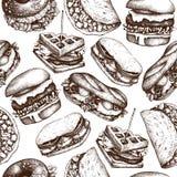快餐餐馆背景 无缝的样式用手拉的汉堡,炸玉米饼,三明治,奶蛋烘饼,bagles速写 葡萄酒il 库存例证