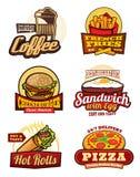 快餐餐馆膳食减速火箭的标签设计 库存例证
