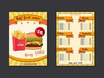 快餐餐馆菜单模板 吃午餐盘,并且饮料列出与价格和汉堡,比萨,热狗,苏打,油炸物,咖啡, 向量例证