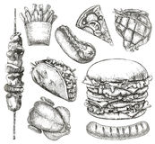 快餐,剪影,手图画 图库摄影