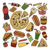 快餐 套在乱画和动画片样式的元素 五颜六色 皇族释放例证