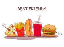 快餐 快餐的传染媒介例证 与快餐的图象的逗人喜爱的最好的朋友图片 在葡萄酒猪圈的图象快餐 向量例证