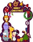 快活圣诞节的框架 免版税库存照片