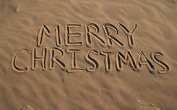 快活海滩的圣诞节 免版税图库摄影