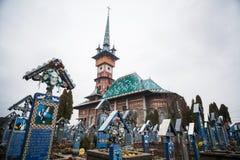 快活的公墓在Sapanta,罗马尼亚 图库摄影