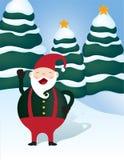 快活的圣诞老人矮子在圣诞节冬天妙境 免版税库存图片