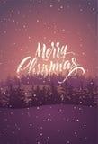 快活的圣诞节 与冬天风景的书法减速火箭的圣诞卡设计 也corel凹道例证向量 免版税图库摄影