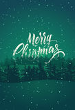 快活的圣诞节 与冬天风景的书法减速火箭的圣诞卡设计 也corel凹道例证向量 库存图片