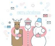 快活的圣诞节 圣诞老人和他的朋友 鹿鲁道夫和s 库存例证