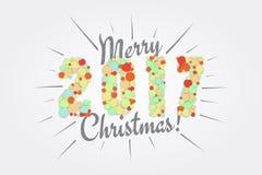 快活的圣诞节 新年快乐2017年 印刷标签,贴纸 免版税库存图片