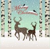 快活的圣诞节 雪冬天与鹿和鸟,桦树的森林风景 免版税库存图片