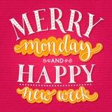 快活的星期一和愉快的新的星期 激动人心 库存照片