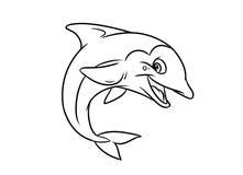 快活的海豚例证着色页 免版税库存图片