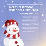 快活的Chistmas和新年快乐雪人设计模板 库存照片