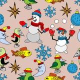 快活背景的圣诞节 无缝的纹理 免版税库存照片