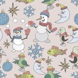 快活背景的圣诞节 无缝的纹理 免版税库存图片