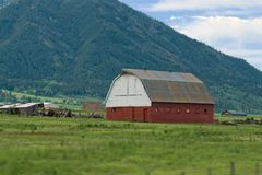 怀俄明农场的谷仓 库存照片