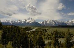 怀俄明, Gran Teton国家公园,斯内克河 黑色白色 免版税库存照片