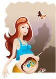 怀孕抽烟 免版税库存图片
