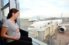 怀孕的乘客 库存照片