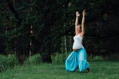 怀孕的做不同的锻炼的瑜伽产前母道 在草的公园,呼吸,舒展,静止 免版税图库摄影
