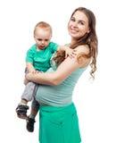 怀孕的儿子妇女 免版税图库摄影