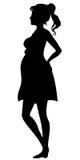 怀孕的剪影妇女 库存照片