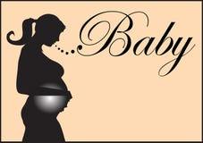 怀孕的剪影 免版税库存照片