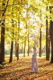 怀孕的女性在秋天 免版税库存图片