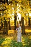 怀孕的女性在秋天 图库摄影