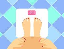怀孕的女性腿和肚子的例证在地板等级 传染媒介重量看守人 孕妇健康的概念 库存例证