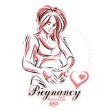 怀孕的女性身材手拉的传染媒介例证,轻轻地接触她的腹部的花姑娘 皇族释放例证