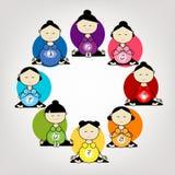 怀孕的瑜伽,您的设计的妇女小组 库存照片