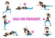 怀孕的瑜伽 向量例证
