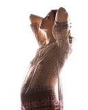 怀孕的美丽的妇女的剪影图片 免版税库存照片