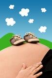 怀孕的腹部 库存图片