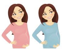 怀孕的认为的妇女 向量例证