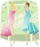 怀孕的购物妇女 免版税库存照片