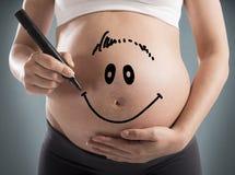 怀孕的面带笑容 库存图片