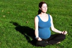 怀孕-孕妇锻炼瑜伽 免版税图库摄影