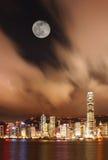 怀有香港晚上场面维多利亚 免版税库存图片