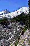 从怀特河,埃蒙丝冰碛足迹, Mt的Tahoma 更加多雨的国家公园,华盛顿 免版税库存图片