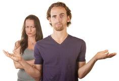 怀疑妻子和绝望的妇女 库存图片