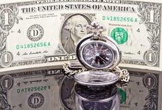 怀表和美元 库存图片