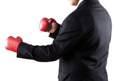 态度拳击生意人手套佩带 免版税库存照片