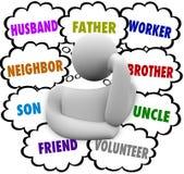 思想家想法覆盖许多角色丈夫父亲工作者 免版税库存照片