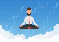 思考在天空的商人贸易商 放松在与证券交易所图表图的云彩的冥想的商人 免版税库存图片