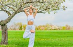 思考在瑜伽vrksasana树姿势的妇女在公园 库存图片