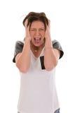 急切少妇叫喊恐惧 免版税图库摄影